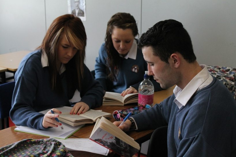 Students in Desmond College Post Primary School reading as part of the Learning Schools Project