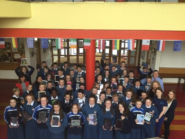 A number of the First Year Students displaying their iPads at their training day