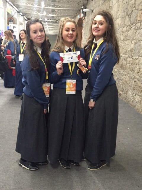 2016 Jan: Aine Upton, Leah Barry and Muireann Tobin who received 3rd place in the Intermediate Technology Group