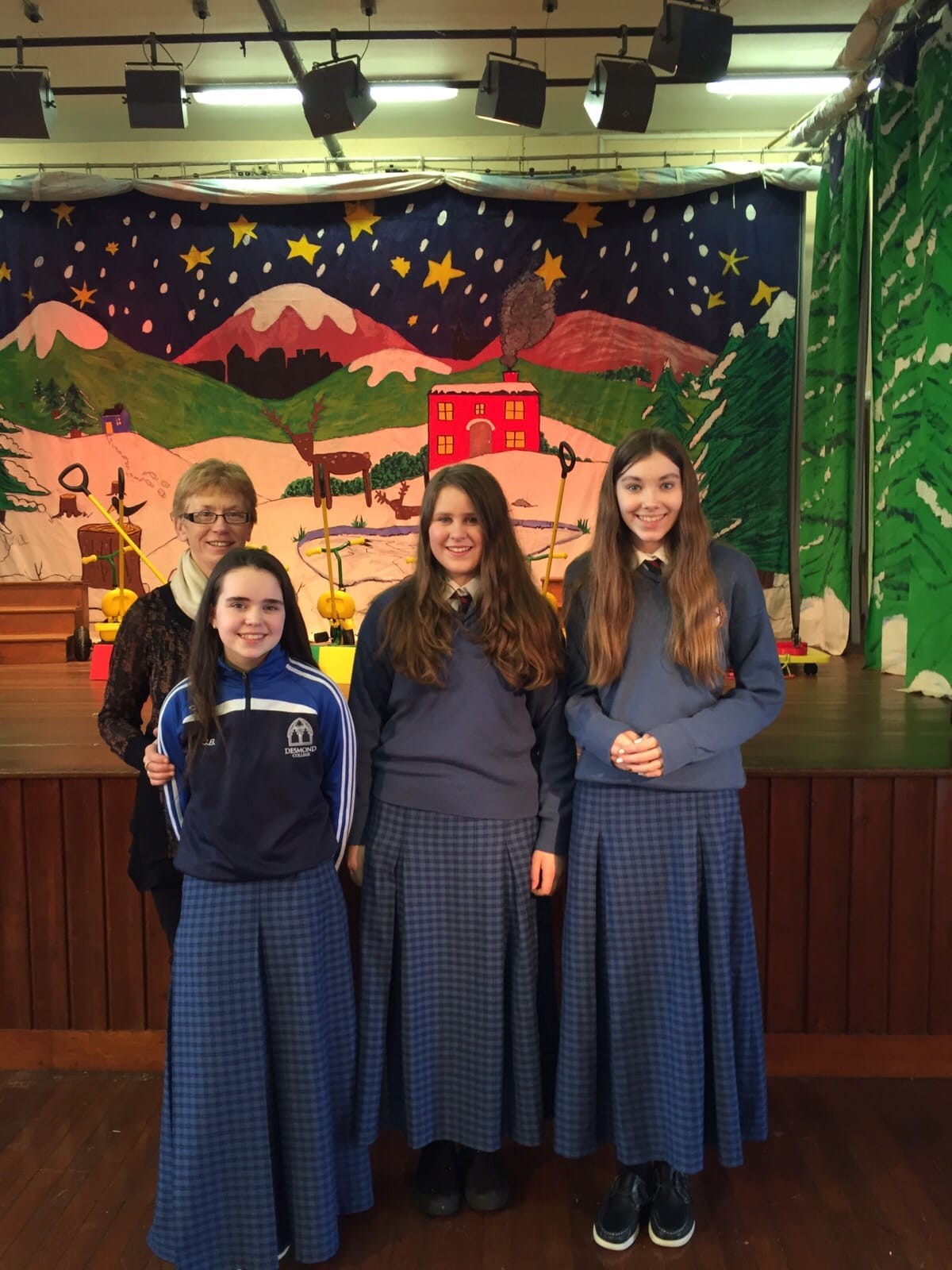 2016 Jan: Ciara Brouder, Sophie Lenders and Eve Montgomery Desmond College with their National School Principal Ms. Nora Ryan, Scoil Iosaf on a recent visit to the school to show off their Young Scientist Projects.