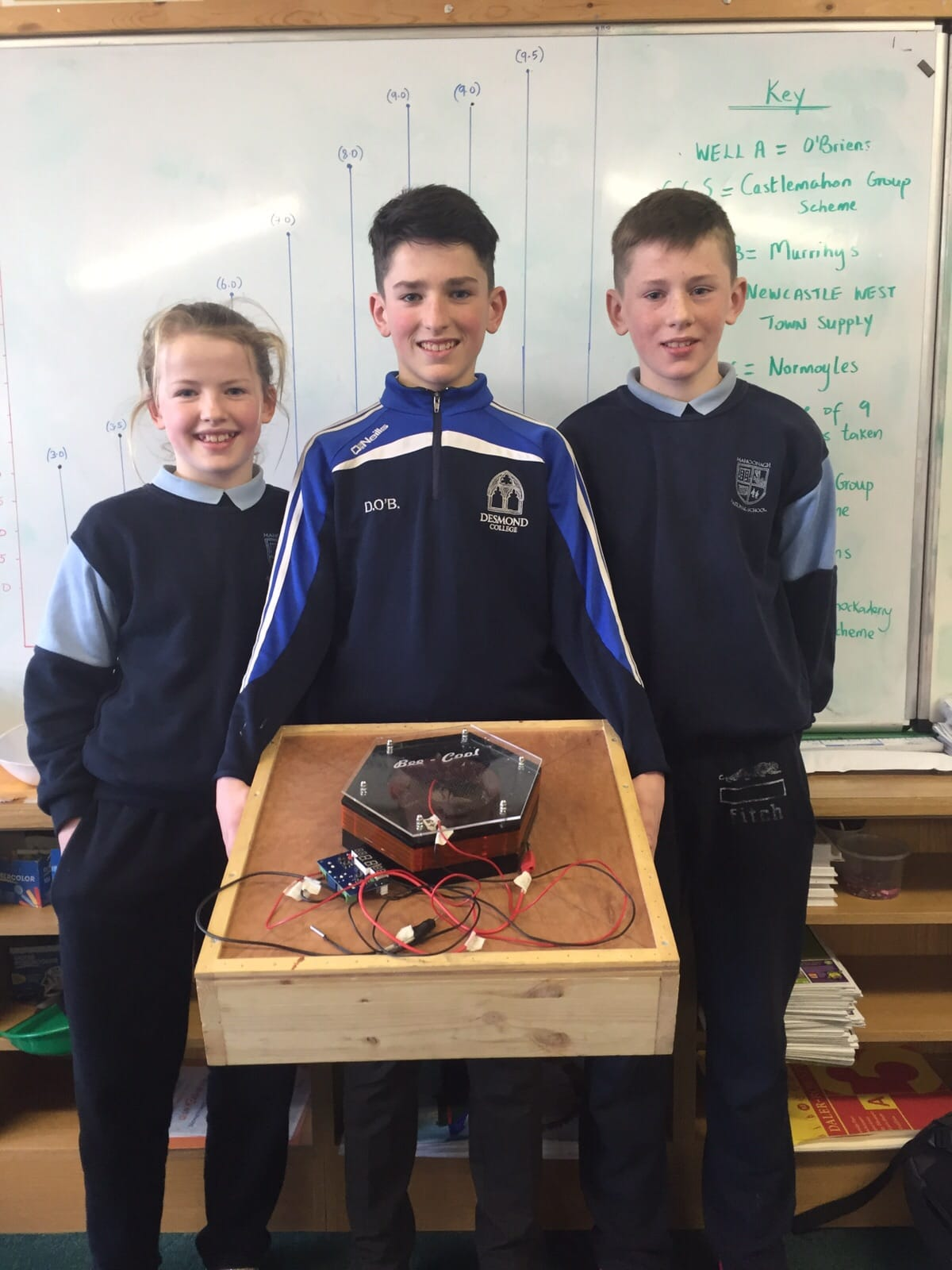Jan 2016: David O'Brien Desmond College proudly showing off his young scientist project to his brother and sister on his recent visit to Mahoonagh National School