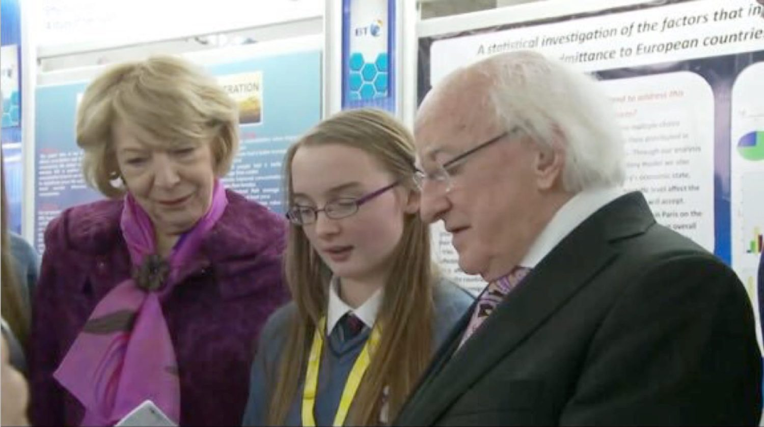 Jan 2016: Hannah Barrett explain her project to President Higgins and his wife Sabina