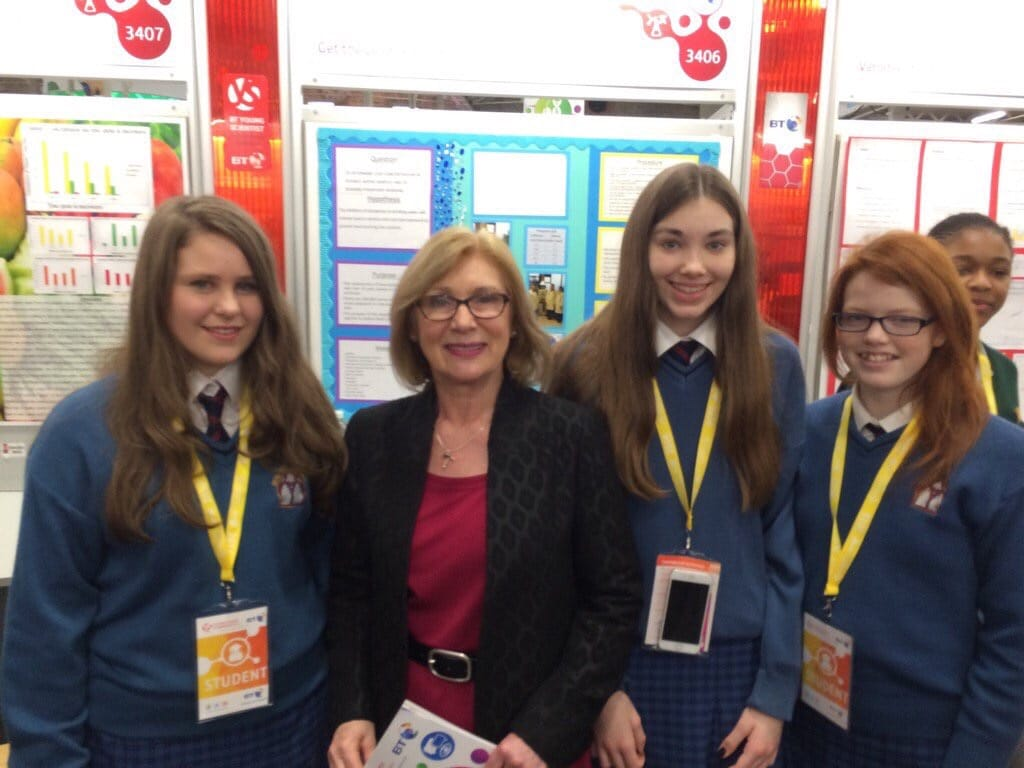 2016 Jan: Sophie Leenders, Eve Montgomery and Claire Nolan with Minister for Education Jan O Sullivan at the BT Young Scientist 2016