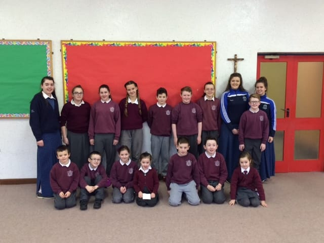 TY students Mary O Connor, Niamh O Connell and Jamie Campbell visiting their old primary school in Shanagolden to show their BT Young Scientist projects