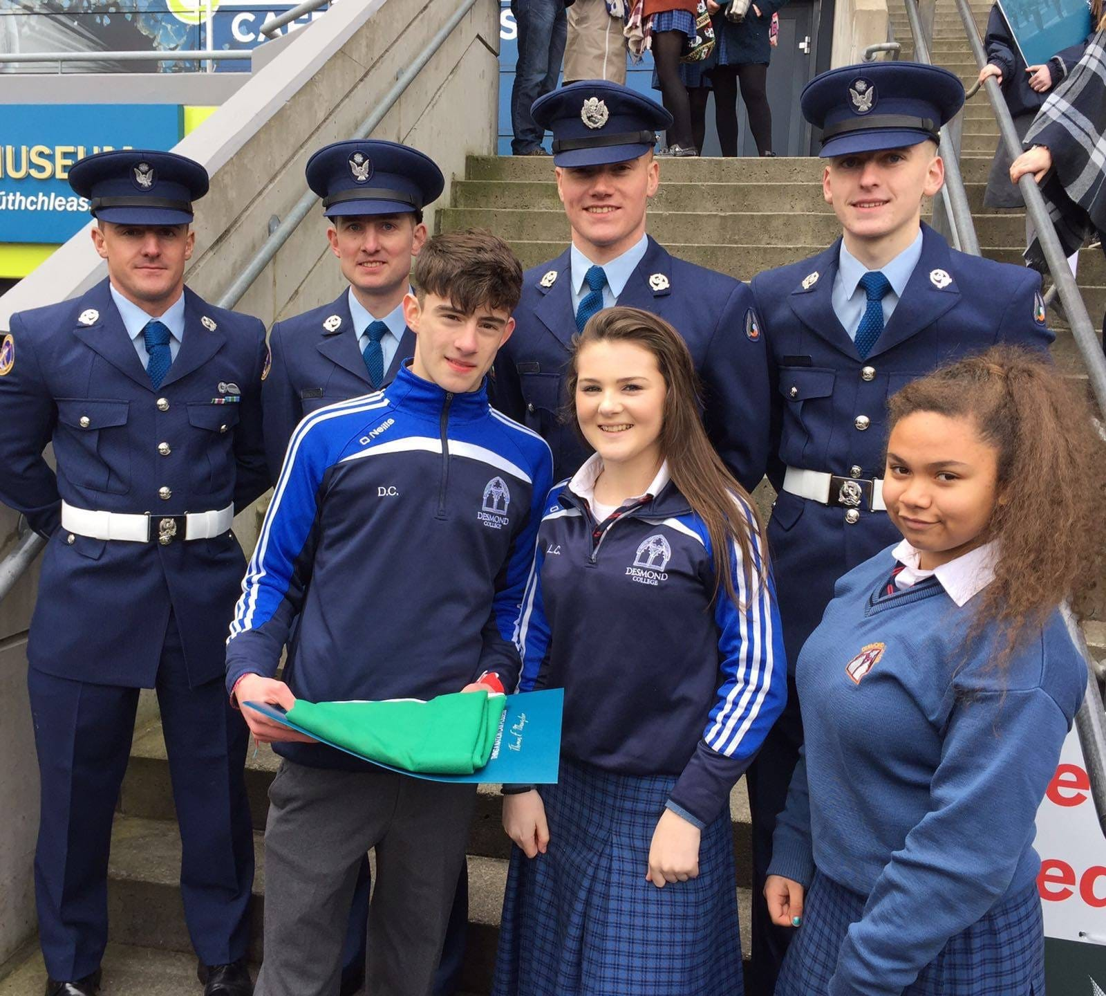 March 2016: Desmond College Students Collecting the Flag at the 1916 Commemoration Service in Croke Park
