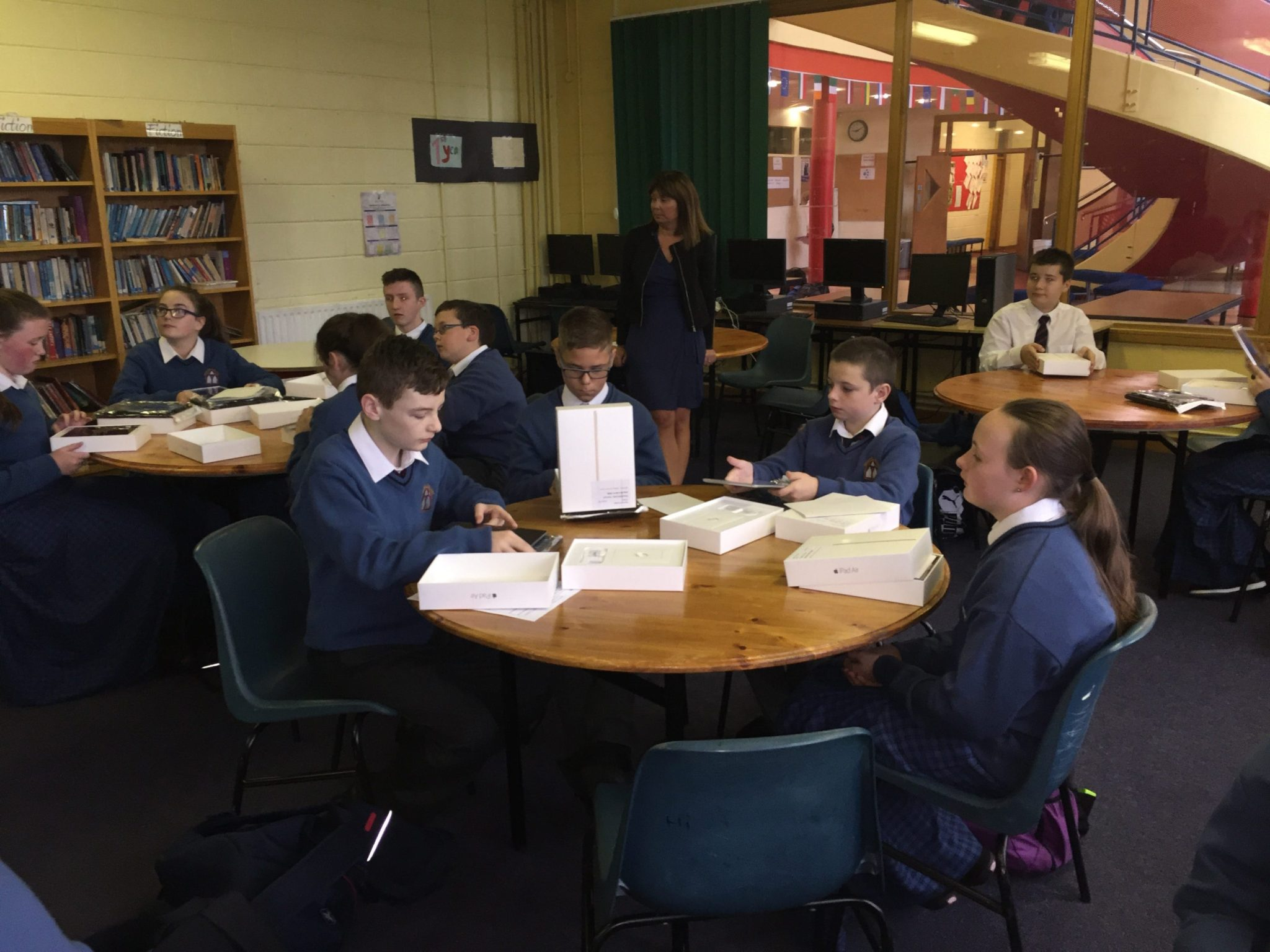 September 2016: Excitement as some of the Newcastle West Desmond College first year students open their iPads