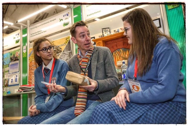 Jan 2017: 5th Year students Jaimie Campbell and Niamh O'Connell having a chat with Ryan Tubridy at the BT Young Scientist Exhibition 2017.