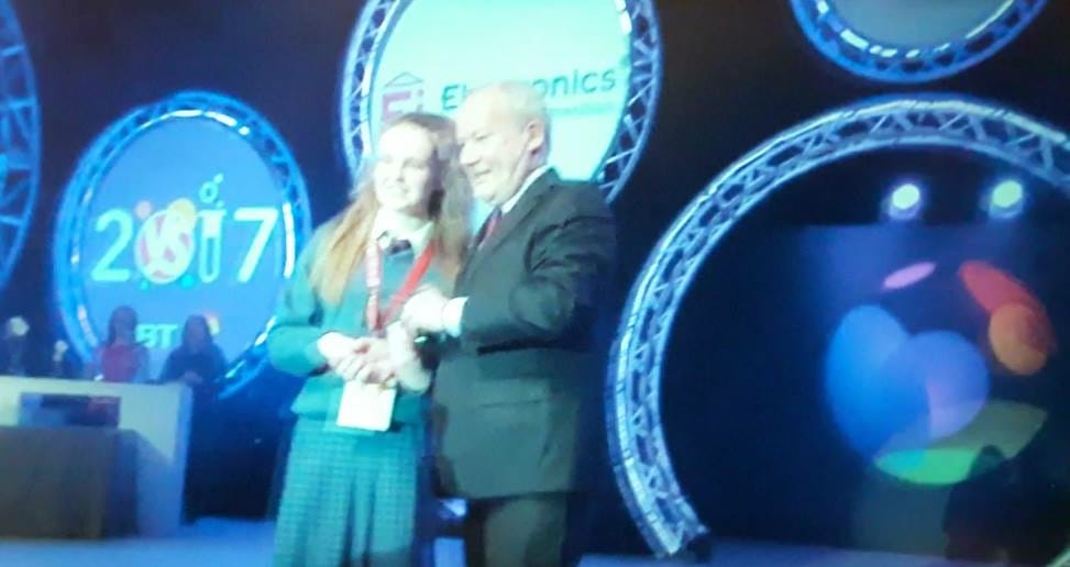 Jan 2017: Kayla McMahon receiving her award from Ei Electronics for her project The Fire 'Tech' Stinguisher
