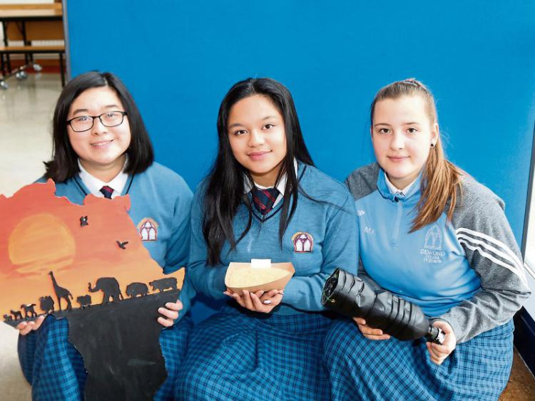 Pictured with their plastic-bottle moth-trap are, from left, Shane Baguio, Joanne Lai and Marcelina Krzywozinska : image from LimerickLeader