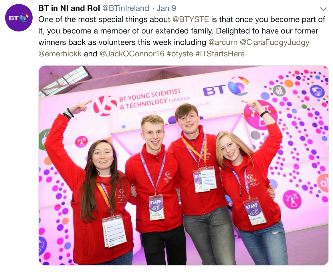 @BTinIreland: Delighted to have our former winners back as volunteers this week... @JackOConnor16 #btyste