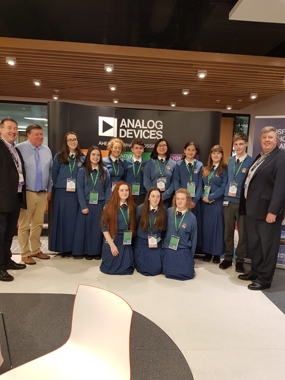 Desmond College BT Young Scientist and Technology 2019 finalists pictured at a host event organised by Analog Devices