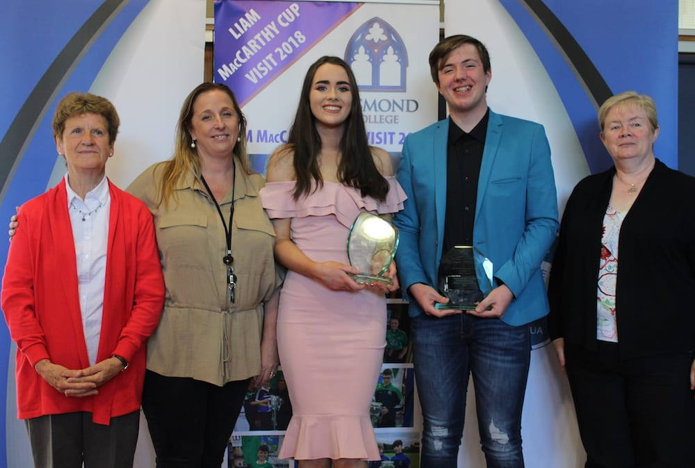 Fiona Kelly and Cian Nolan receiving their Awards from the Age-Friendly Team Gillian Robinson, Anne Rizzo and Mary Cronin