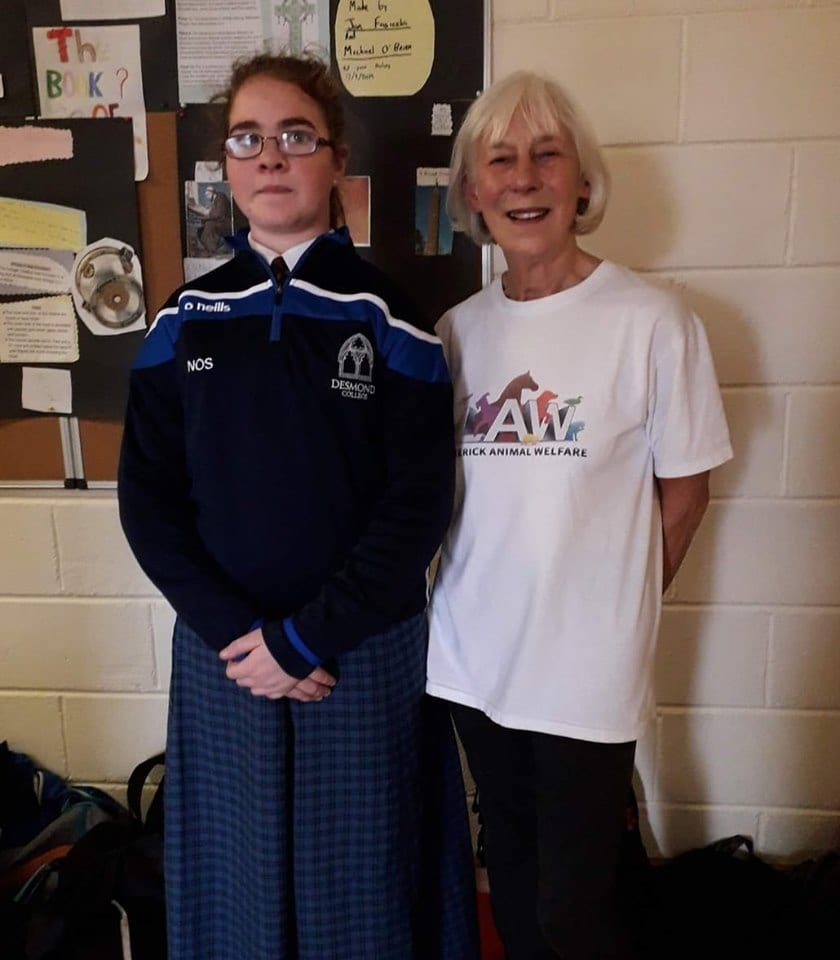 2019: Congratulations to Nora O' Sullivan for organising a talk for first years delivered by Limerick Animal Welfare