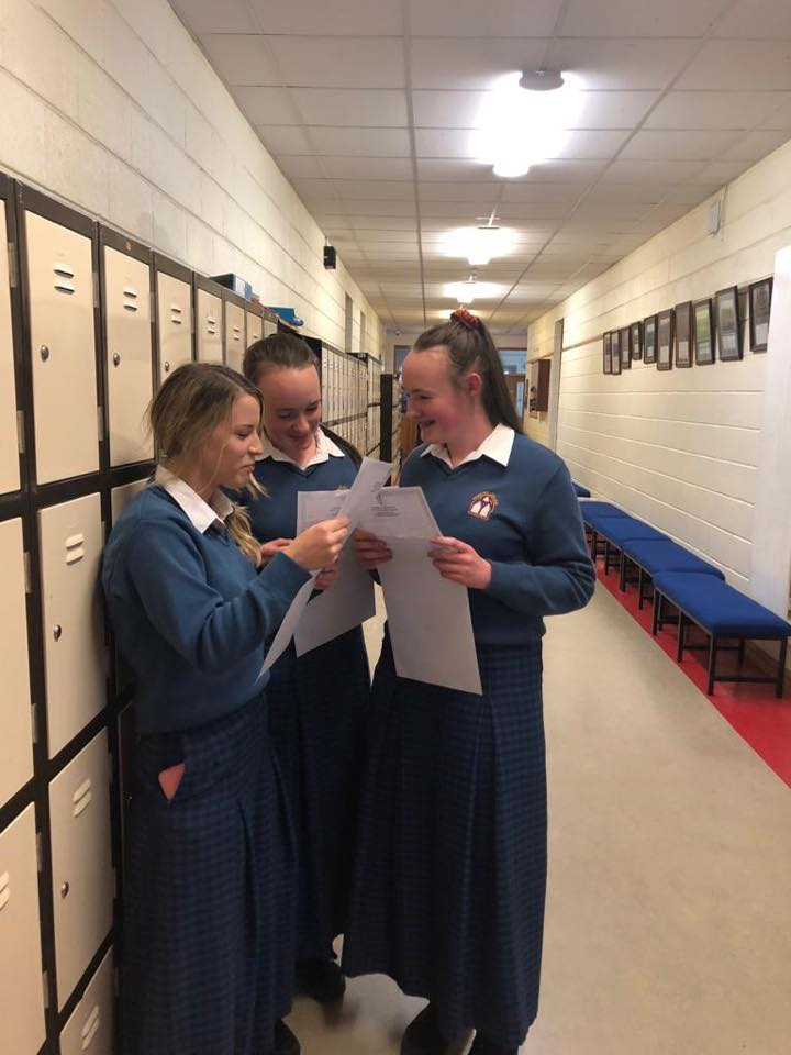 Desmond College students celebrating and comparing results