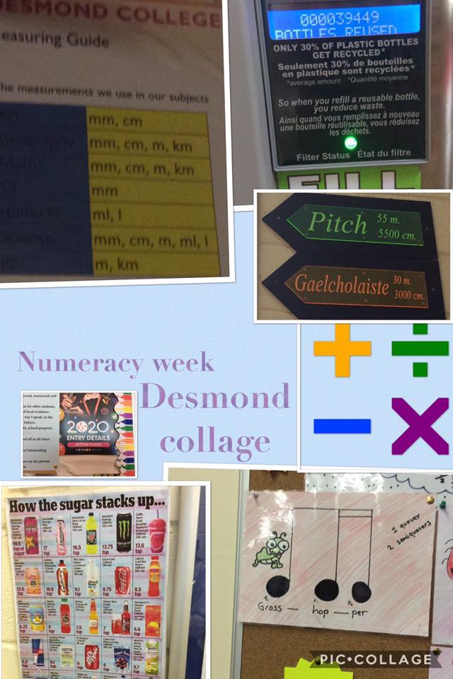 Desmond College's 2020 Annual Numeracy Week picture collages