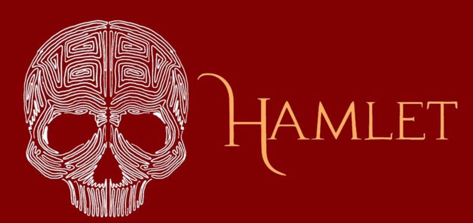 maze in shape of a skull and the word HAMLET on red background