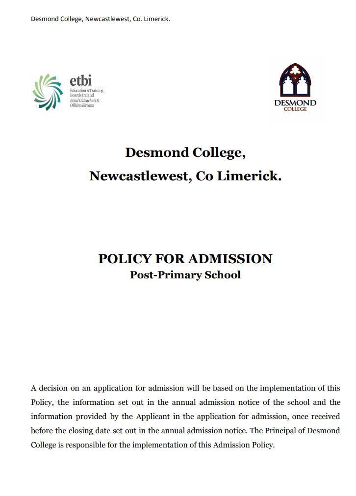 Desmond College Admission Policy 2020 PDF
